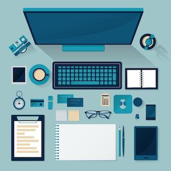 Zestaw materiałów biurowych na stole. widok z góry .