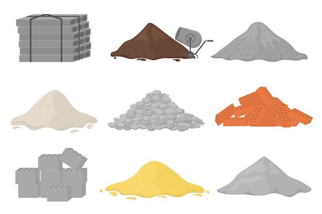 Zestaw materiałów budowlanych (piasek, kamienie, cement, kruszony kamień, cegła, gips). stosy materiałów budowlanych. mogą być stosowane na budowach, robotach, przemyśle. .