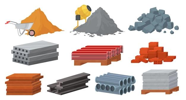 Zestaw materiałów budowlanych, płaska ilustracja. kupie cegieł piaskowych kamieni cementowych. bloczki gipsowe, dach blaszany, dachówka