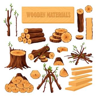 Zestaw materiałów opałowych dla przemysłu tarcicy na białym tle. zbiór kłód drewna, odcinków, pni, gałęzi, gałęzi, desek. kikut i deski drewniane w tartaku.