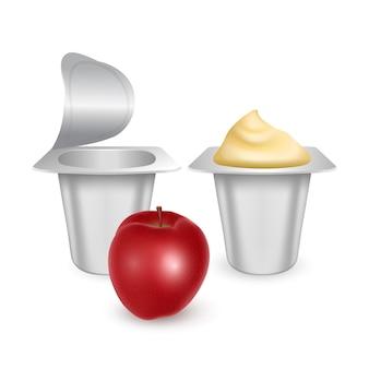 Zestaw matowych plastikowych garnków do jogurtu