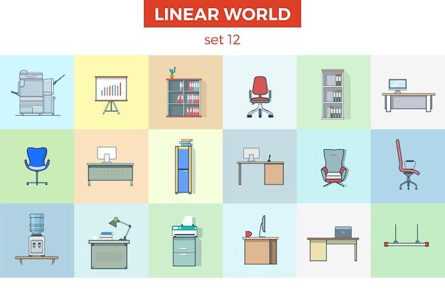 Zestaw mebli biurowych liniowych płaskich wnętrze pokoju
