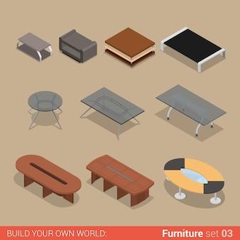 Zestaw mebli biurowych stół salon sala konferencyjna płaski kolekcja kreatywnych obiektów wnętrzarskich.