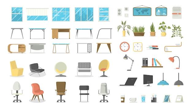 Zestaw mebli biurowych. stoły i krzesła, okna i lampy.