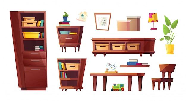 Zestaw mebli do salonu lub pokoju dziecięcego. stolik nocny, regał, stół, krzesło, lampa stołowa, roślina w miejscu. płaska konstrukcja.