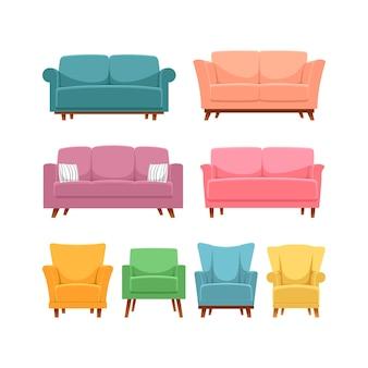 Zestaw mebli do salonu z nowoczesnymi różnymi sofami i fotelami