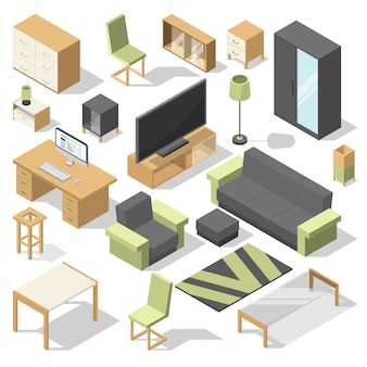 Zestaw mebli do sypialni. vector izometryczne elementy nowoczesnego domu