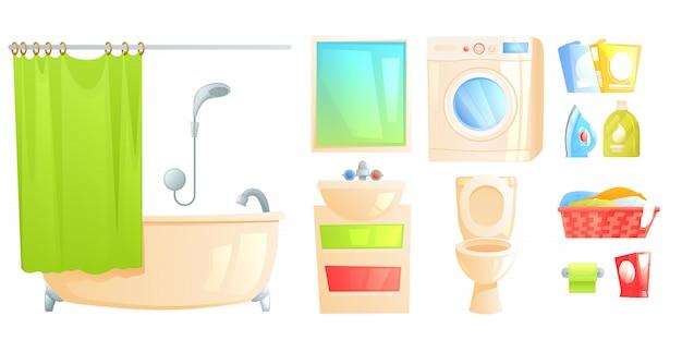 Zestaw mebli łazienkowych obiektu. wyizolowana toaleta i wanna oraz inne przedmioty.
