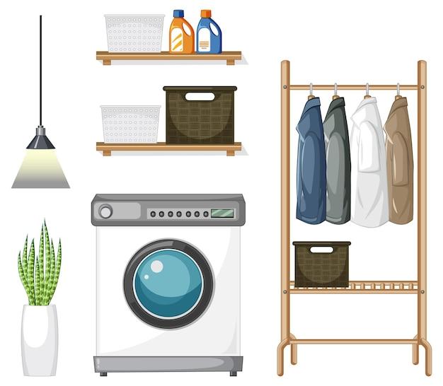 Zestaw mebli pralniczych do aranżacji wnętrz na białym tle