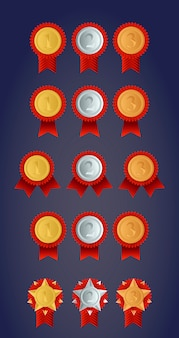 Zestaw medali nagród championa, złoty, srebrny i brązowy
