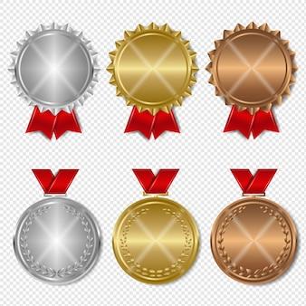Zestaw medali nagród przezroczyste tło z siatki gradientu, ilustracja.