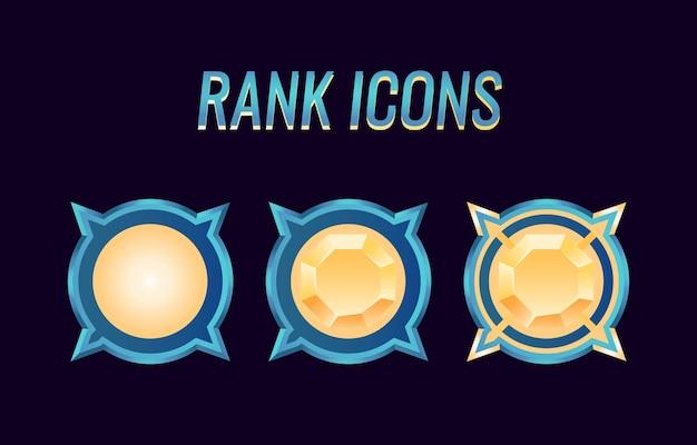 Zestaw medali rangi interfejsu użytkownika w grze fantasy dla elementów aktywów gui