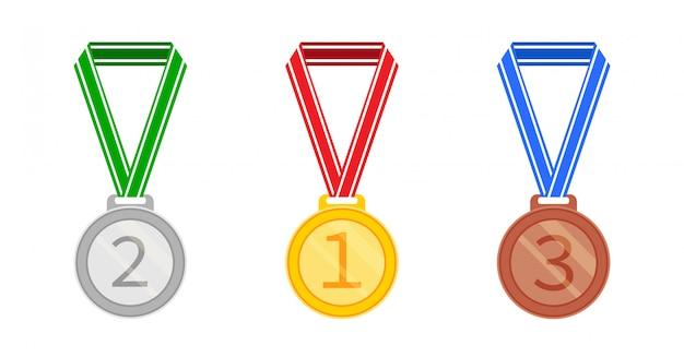 Zestaw medali w stylu płaskiej. ikona srebrnego, złotego i brązowego medalu. ilustracja na białym tle.