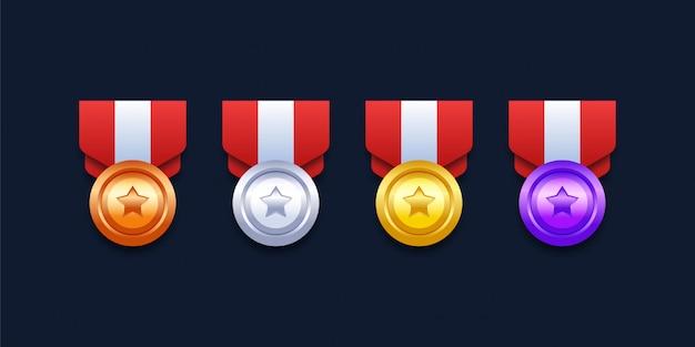 Zestaw medali za poziom