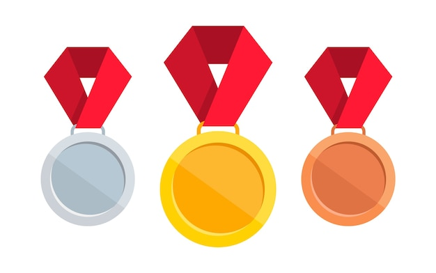 Zestaw medali. złoty, srebrny i brązowy medal z czerwoną wstążką.