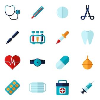 Zestaw medyczny ikony płaski