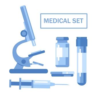 Zestaw medyczny. mikroskop, probówka, butelka na lekarstwa, szalka petriego, strzykawka. ilustracja wektorowa, płaski. pojedynczo na białym tle.