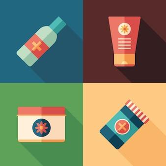 Zestaw medyczny płaski kwadrat ikony z długie cienie.