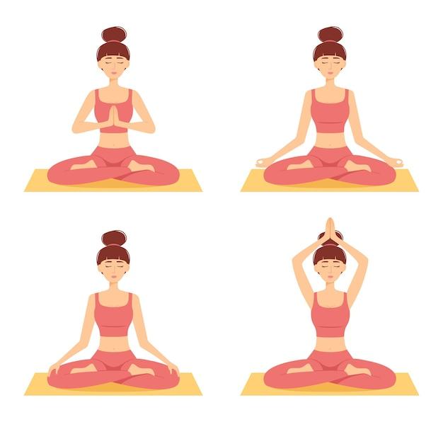 Zestaw medytacji kobiet. dziewczyny w pozycji lotosu praktykujących jogę, ilustracji wektorowych