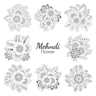Zestaw mehndi kwiat w etnicznym stylu orientalnym doodle ornament kontur ręcznie rysować ilustracja kolorowanki książki