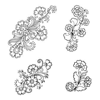 Zestaw mehndi kwiatki. dekoracja w etnicznym orientalnym, indyjskim stylu. doodle ozdoba. zarys ilustracja rysować ręka.