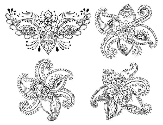 Zestaw mehndi kwiatki do rysowania henny i tatuażu. dekoracja w etnicznym orientalnym, indyjskim stylu. doodle ozdoba. zarys ręcznie rysować ilustracji wektorowych.