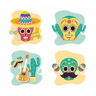 Zestaw meksykańskich czaszek