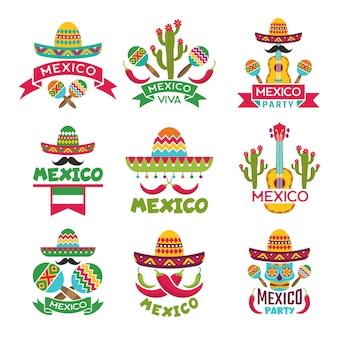 Zestaw meksykańskich etykiet.