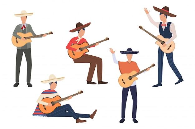 Zestaw meksykańskich gitarzystów