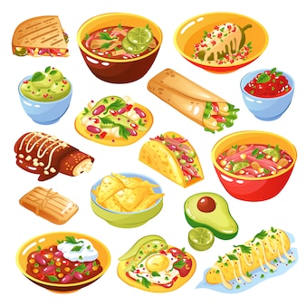 Zestaw meksykańskiej żywności