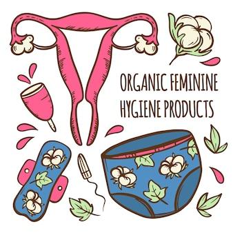 Zestaw menstruacyjny organiczna kobieca ginekologiczna opieka zdrowotna zero odpadów higiena kobiet ręcznie rysowane ilustracja clip art do druku