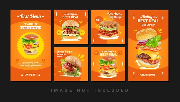 Zestaw menu burger food menu instagram kanał społecznościowy i szablon stories