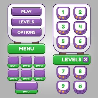 Zestaw menu do wyboru gier rpg i przygodowych, w tym menu, wybór poziomu i opcje.