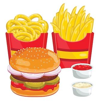 Zestaw menu fast food