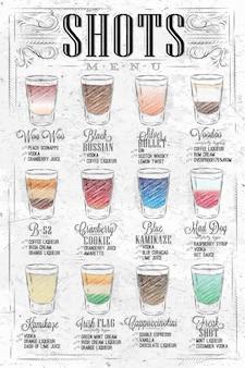 Zestaw menu strzałów ze zdjęciami drinków z nazwami w stylu vintage