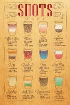 Zestaw menu strzałów ze zdjęciami napojów z nazwami w stylu vintage stylizowany rysunek z rękodziełem