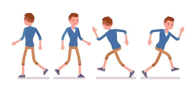 Zestaw męski millennial w pozie chodzącej i biegającej