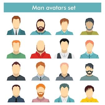 Zestaw męskich awatarów z różnymi fryzurami: długie lub krótkie włosy, łysy, z brodą lub bez
