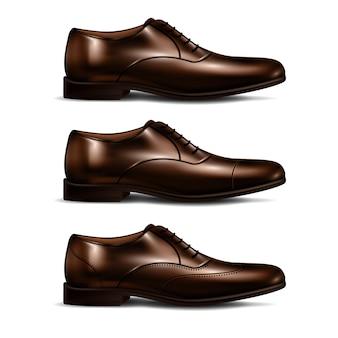 Zestaw męskich butów realistyczny zestaw z trzema skórzanymi butami w stylu casual