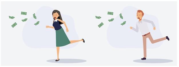 Zestaw męskich i żeńskich podbiegających do połowu pieniędzy. brak koncepcji pieniędzy. płaskie wektor 2d charakter ilustracja kreskówka.