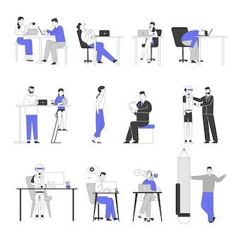 Zestaw męskich i żeńskich postaci biznesowych nudne w biurze