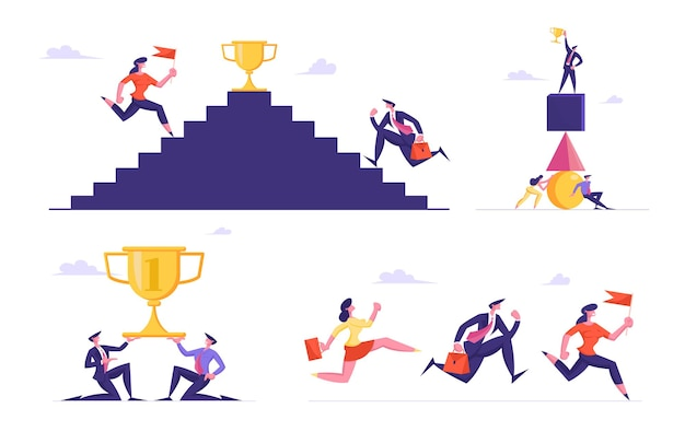Zestaw męskich i żeńskich postaci ludzi biznesu wspinających się po schodach, aby chwycić złoty kielich
