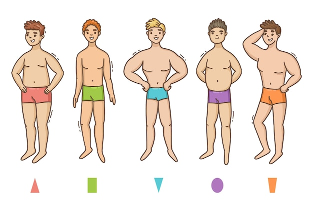 Zestaw męskich kształtów ciała