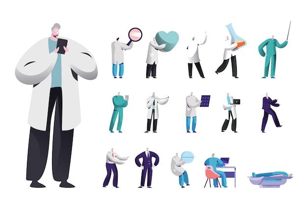 Zestaw męskich postaci, lekarz medycyny lub pielęgniarka ze smartfonem, sercem i pigułką, probówką, lupą lub zlewką