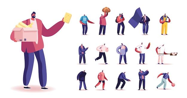 Zestaw męskich postaci posiadających ser, piekarnię i chleb, grając w kręgle, spacer z dzieckiem, nosić flagę, klucze i nosić koszulę darowizny na białym tle. ilustracja wektorowa kreskówka ludzie