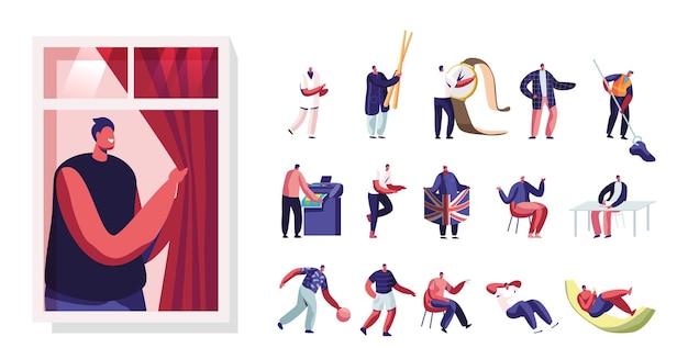 Zestaw męskich postaci stoją przy oknie, mycie podłogi, relaks przy koktajlu i filiżance kawy. tiny men z ogromnymi zegarkami i pałeczkami na białym tle. ilustracja wektorowa kreskówka ludzie