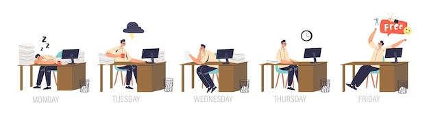 Zestaw męskich pracowników biurowych w miejscu pracy zwlekających, znudzonych, śpiących, zestresowanych i dopingujących na weekend. kreskówka menedżer w różnych emocjach siedzieć przy biurku. płaska ilustracja wektorowa