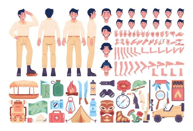 Zestaw męskich przewodników z wyprawy do dżungli. artykuły turystyczne i turystyczne. zwierzęta z dżungli