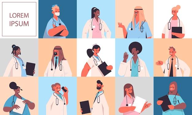 Zestaw męskich żeńskich lekarzy w mundurach mieszanka rasy mężczyźni kobiety pracownicy medyczni opieka zdrowotna medycyna koncepcja postaci z kreskówek kolekcja kopia przestrzeń
