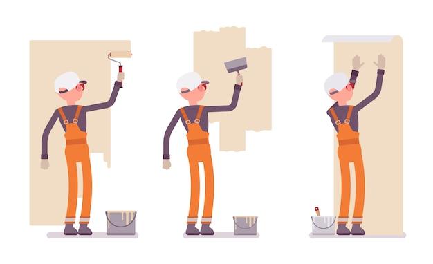 Zestaw męskiego pracownika w pomarańczowym kombinezonie pracującym ze ścianami wewnętrznymi